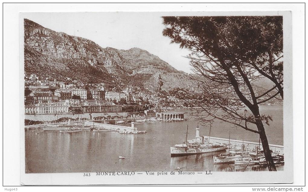 MONTE CARLO - N° 343 - VUE PRISE DE MONACO AVEC BATEAUX  - CPA  NON VOYAGEE - Monte-Carlo