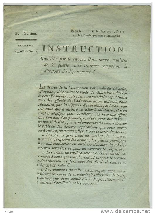 Sept. 1793. Instruction De Bouchotte MIniste De La Guerre Aux Départements. Recrutement Et Réquisitions. Salpêtre. - Documentos