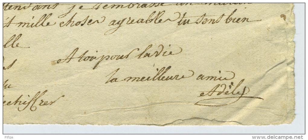 Marque Linéaire 57 ARMENTIERES / LàC 1820 Pour Lille. Lettre Enflamée à L'amoureux + Brouillon De Réponse Idem. Adèle. - Marcophilie (Lettres)