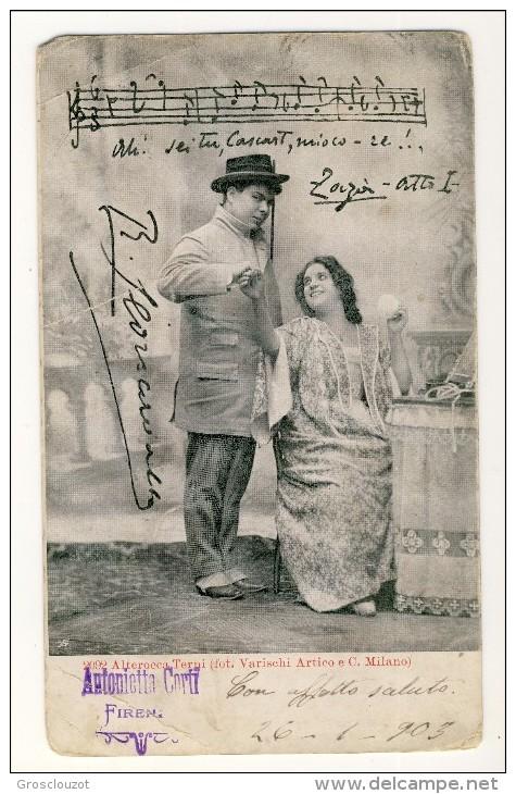 Cartolina LIRICA. Firenze 1903. Zazà, Atto I. 'Sei Tu Core Mio'. Firma Leocavallo. Firma Leocavallo. Circolata - Italia