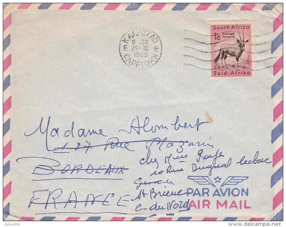 Afrique Du Sud Lettre Avion Kaapstad Capetown 1960 Pour  St Brieuc France - Afrique Du Sud (1961-...)
