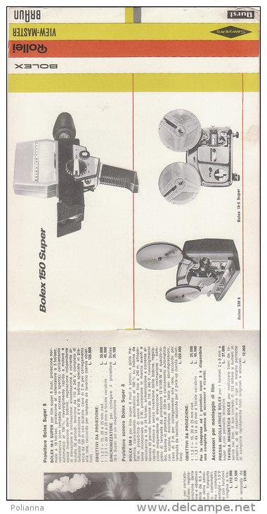 C1911 - Brochure Illustrata PROIETTORI CINEPRESA SUPER 8 BOLEX - ROLLEI - VIEW-MASTER Anni '60 - Proiettori Cinematografiche