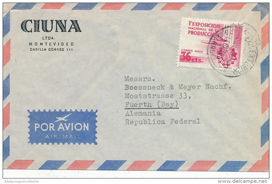 MONTEVIDEO - 1956  , ,Brief Nach Fürth - Uruguay