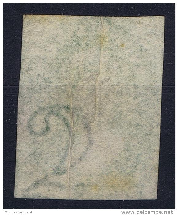 Tasmania: Van Diemensland  Mi Nr 10 B SG 33  Used 1857 With Print Error, Folded Paper,+ White Line - 1853-1912 Tasmania