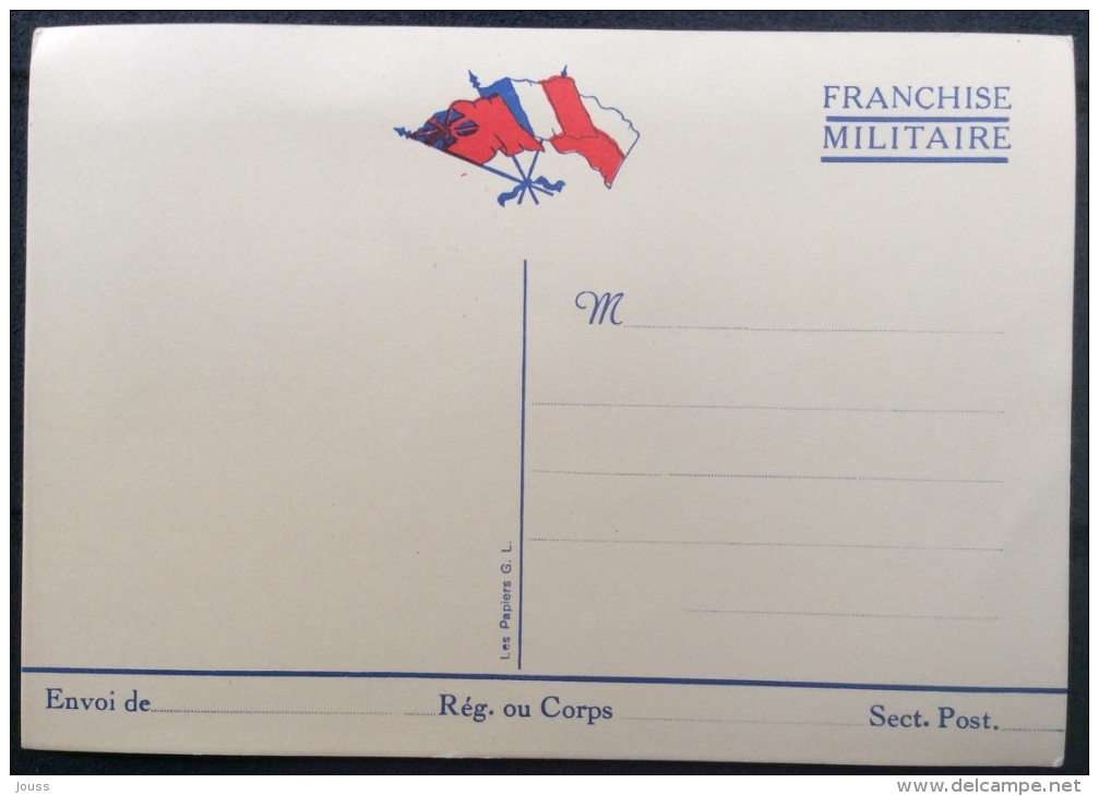 Carte Franchise Militaire Neuve - France
