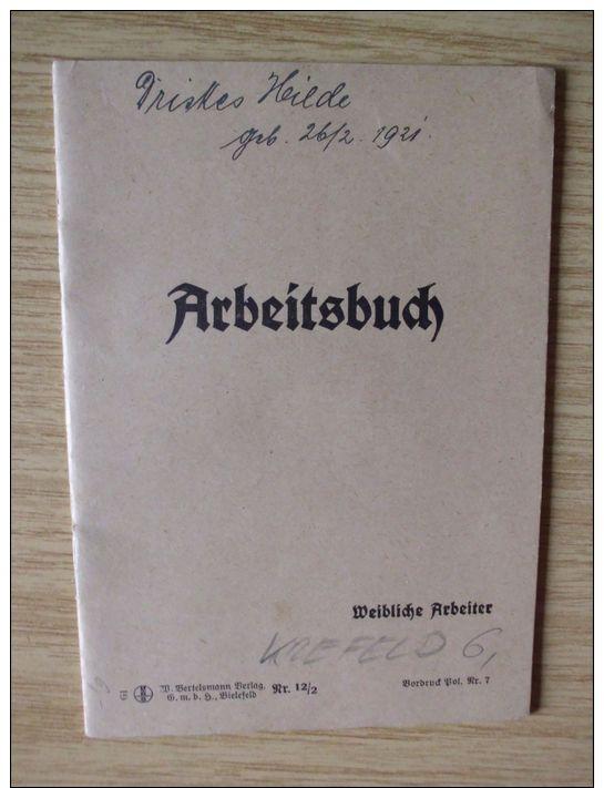 1935, ARBEITSBUCH Von KREFELD, LAGERLEHRMÄDCHEN - Documenti Storici