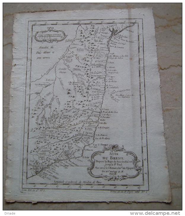 MAPPA CARTA GEOGRAFICA CARTE DU BRESIL BRASILE DEPUIS LA BAYE DE TOUS LES SAINTS JUSQU'à SAINT PAUL ANNO 1757 - Carte Geographique