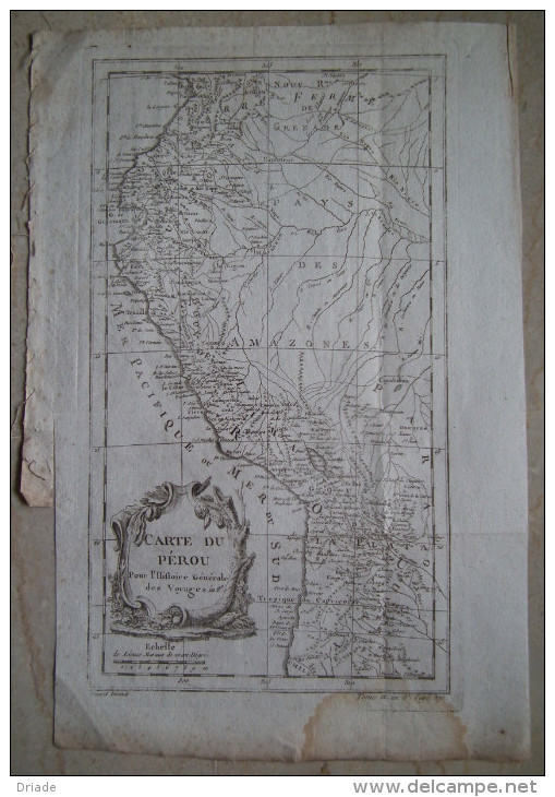 MAPPA CARTA GEOGRAFICA CARTE DU PEROU PERU SUD AMERICA ANNO 1757 - Carte Geographique
