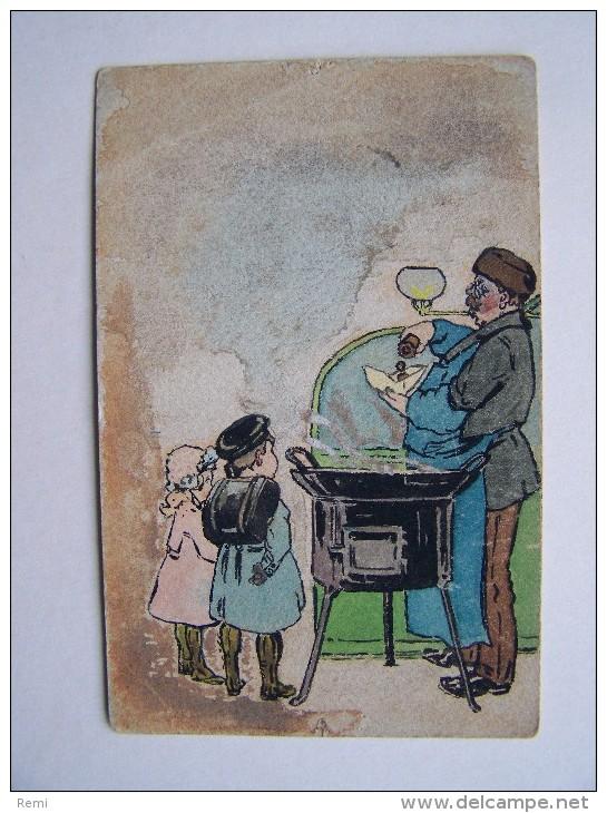 CARTE FANTAISIE Humour Vendeur De Marrons Chauds Enfants Métier - Fantaisies