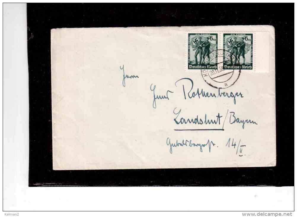 DE1477   -    KOENISBERG 20.11.1938     /    FRANKED WITH MICHEL NR 663 ( X 2 ) - 12  3/4 - Owz - Storia Postale