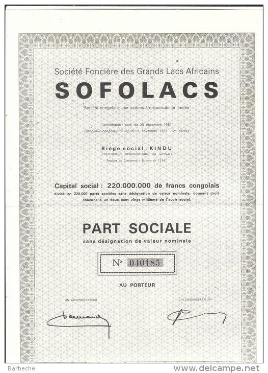 Société Foncière Des Grands Lacs Africains  SOFOLACS - Afrique