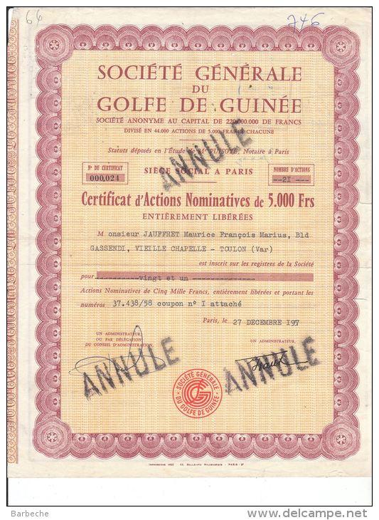 3 Actions SOCIETE GENERALE DU GOLFE DE GUINEE - Afrique