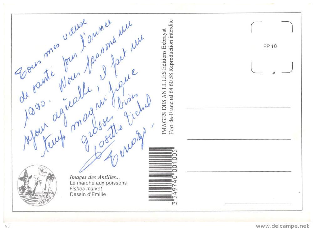 Images Des ANTILLES  Lot De 2 Cartes Cpm-scans R/v Des 2  Cartes- Le Marché Aux Poissons D'après Dessin D'Emilie - Antilles