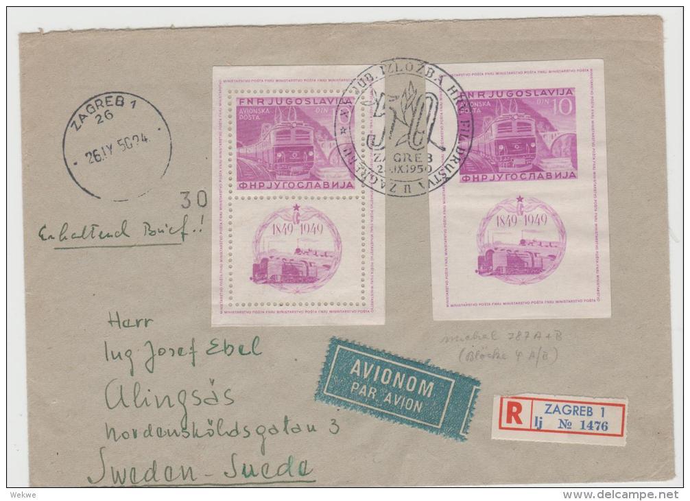 Yu005  JUGOSLAWIEN - / Blöcke 4 A 4 B , Per Luftpost Einschreiben Nach Schweden 26.9.1950 - 1945-1992 Socialist Federal Republic Of Yugoslavia