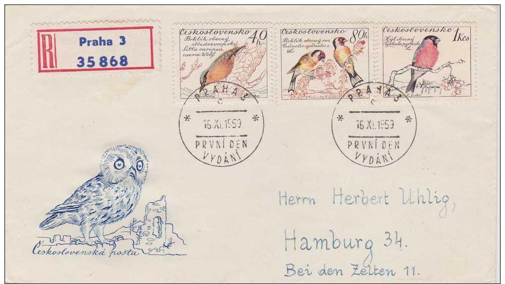 Czechoslovakia; 2 FDC 1959 - Birds - FDC