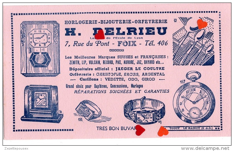 ZE-Buvard.-Horlogerie-Bijouterie-Orféverie-H.DELRIEU-FOIX(ecriture Bleu Fond Rose) - Buvards, Protège-cahiers Illustrés