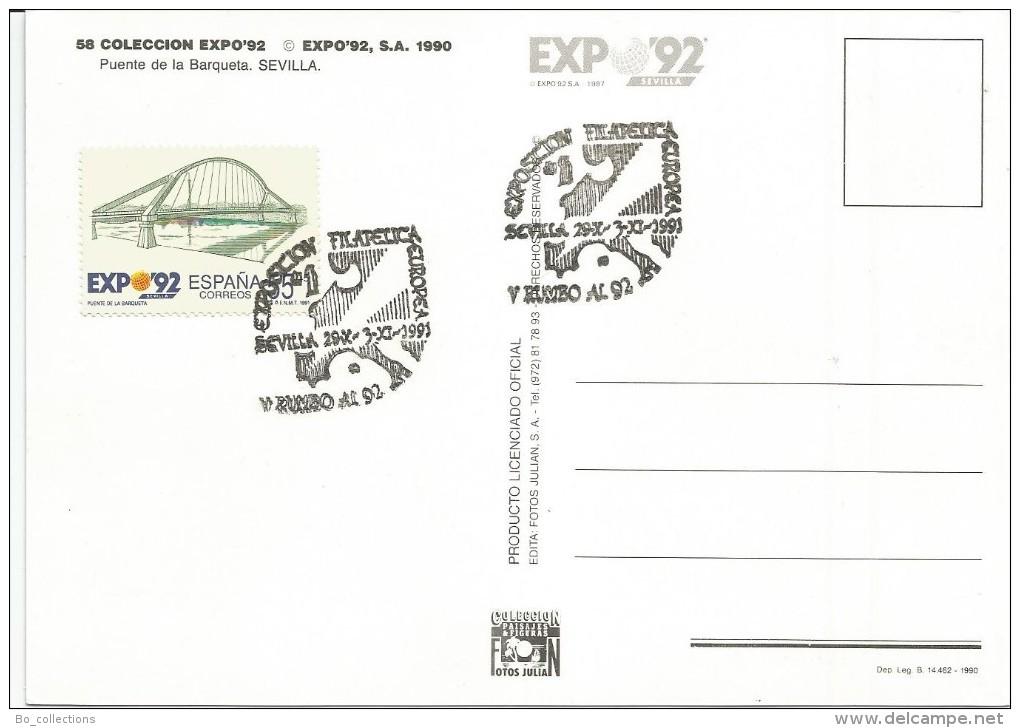 Sevilla, Espana, 29.10.1991 Exposicion Filatelica Europea. - Bolsas Y Salón Para Coleccionistas