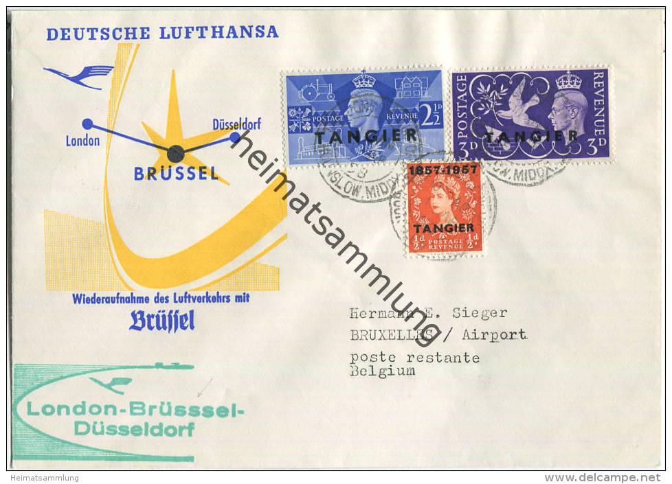 Luftpost Deutsche Lufthansa - Wiederaufnahme Des Flugverkehrs London - Brüssel - Düsseldorf Am  1.April 1958 - 1952-.... (Elizabeth II)