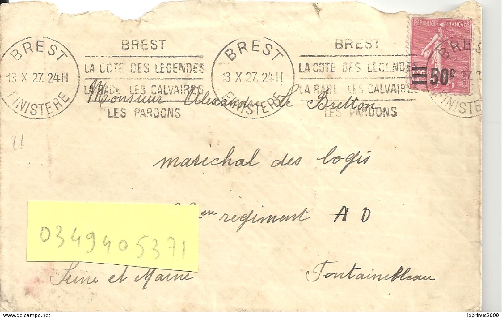 """N°224 BREST Pour FONTAINEBLEAU Du 13 X 27 Flamme """" BREST LA COTE DES LEGENDES LA RADE ....."""" - Oblitérations Mécaniques (flammes)"""