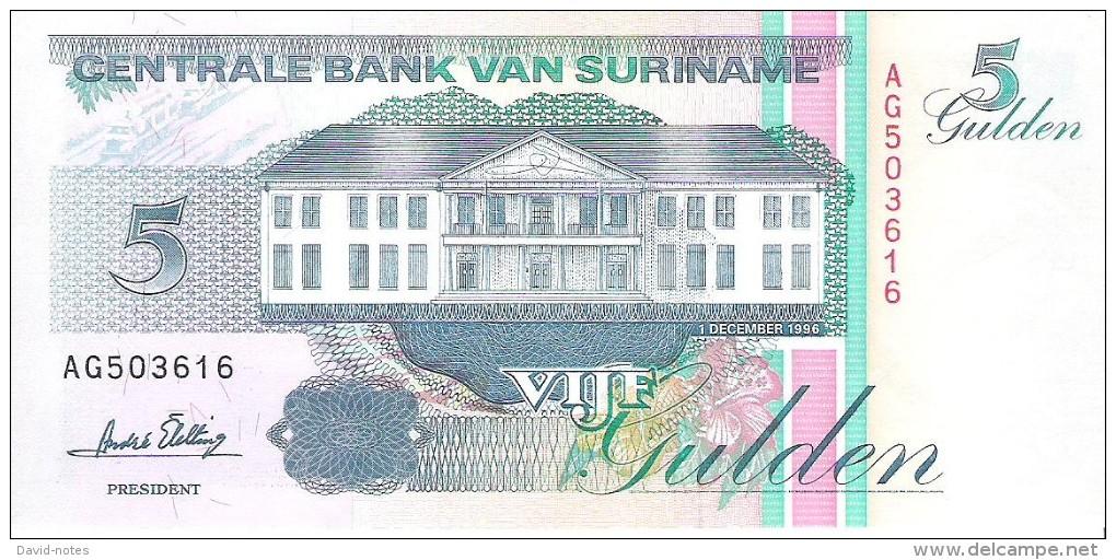 Suriname - Pick 136b - 5 Gulden 1996 - Unc - Surinam
