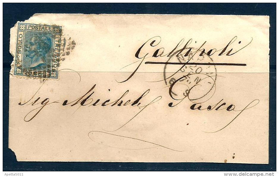 REGNO Storia Postale Vg Per Gallipoli - 1861-78 Vittorio Emanuele II