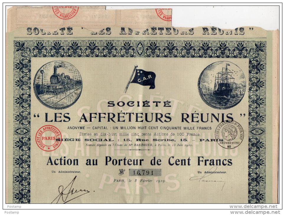 Action-100FRS -1919-Sté LES AFFRETEURS REUNIS-Illustrée  Locomotive-bateau Voilier - Transports