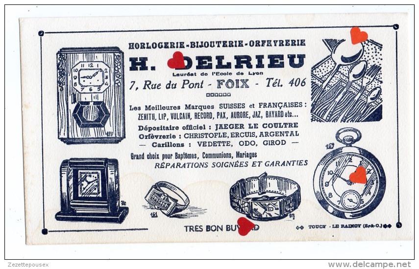 ZE-Buvard.-Horlogerie-Bijouterie-Orféverie-H.DELRIEU-FOIX(ecriture Noire Fond Blanc) - Blotters