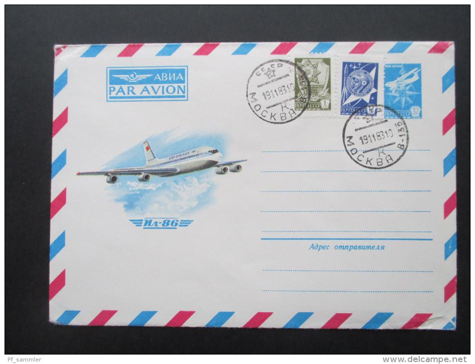 UDSSR / Sowjetunion 1983 Ganzsachen 4 Stück. Flugzeug. Mit Zusatzfrankaturen. - Covers & Documents