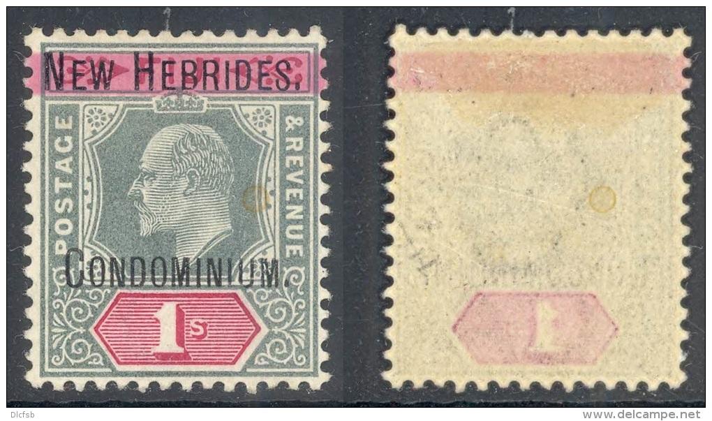 NEW HEBRIDES, 1908 1/- Green & Red Wmk Single Crown CA Superb MM, SG9, Cat £140 - Per UITGEVER