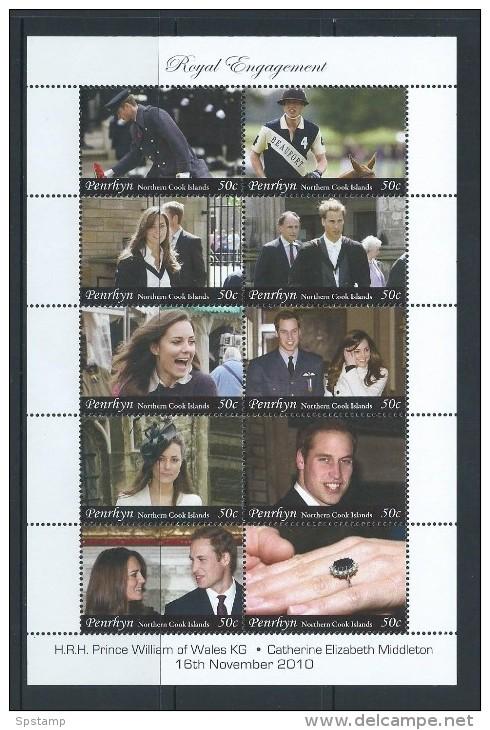Penrhyn Island 2011 Prince William & Kate Royal Engagement Miniature Sheet Of 10 X 50c Values MNH - Penrhyn