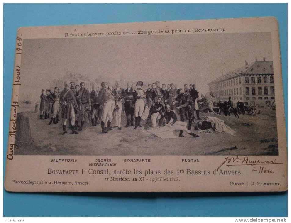 BONAPARTE 1 Consul, Arrète Les Plans Des 1rs BASSINS D'Anvers / Anno 1905 Hove ( Zie Foto Voor Details ) !! - Belgique