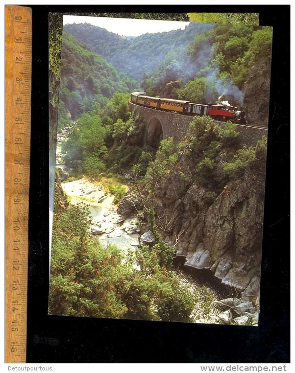 Lot 4 Cpm Trains Train Chemin De Fer Du Vivarais Tournon Lamastre CFTM Gorges Doux Locomotive à Vapeur Railways Zug - Trains
