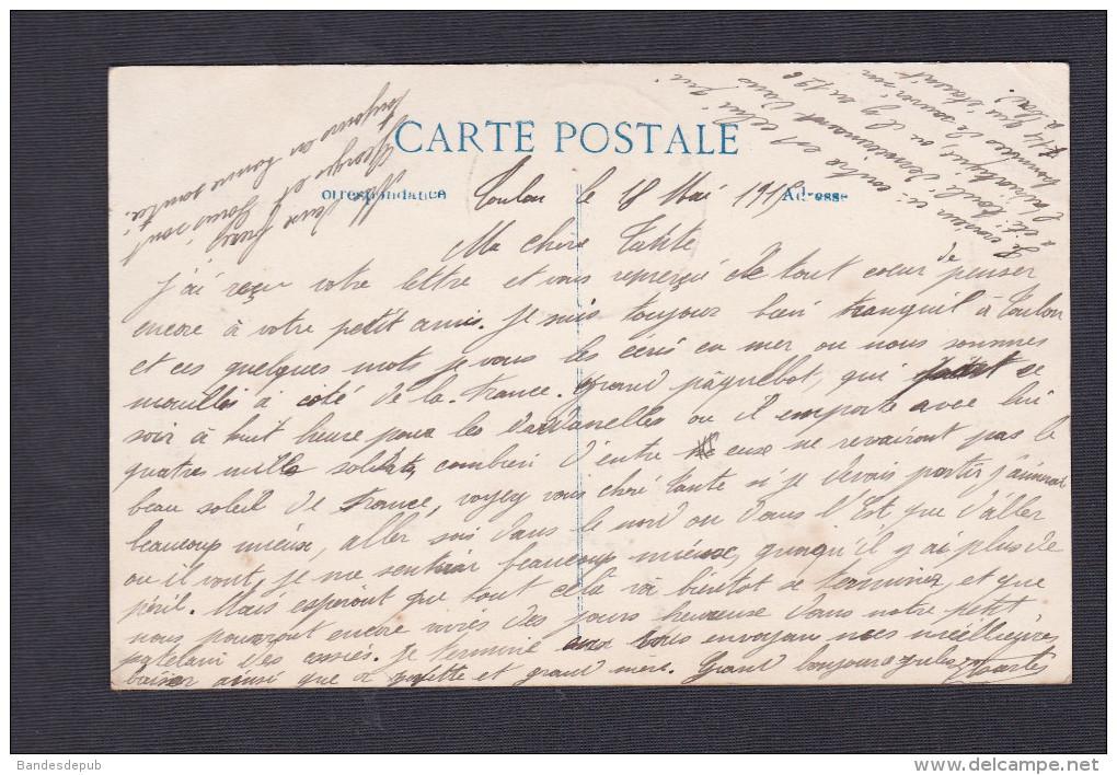 Vente Immediate Le Leon Gambetta Croiseur Cuirassé Coulé Le 16 Avril 1915 Cachet Marine Française ELD E. Le Deley - Guerra