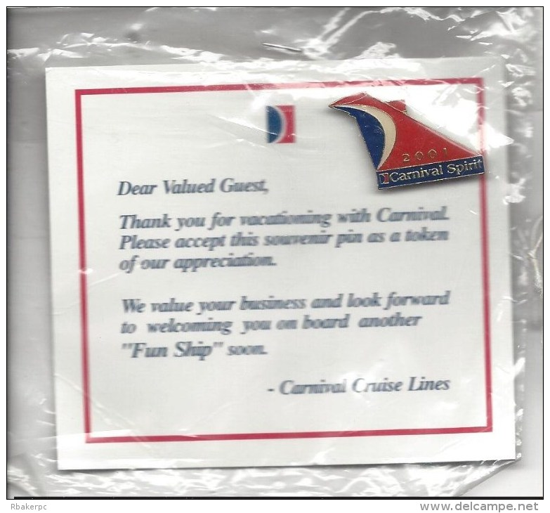 Carnival Spirit 2001 Pin From Carnival Cruise Lines - Transportation