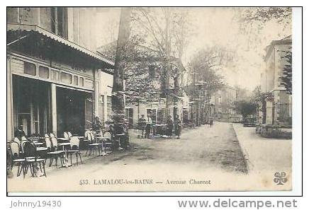 433 - LAMALOU-LES-BAINS - AVENUE CHARCOT  ( Animées - CAFE ) - Lamalou Les Bains
