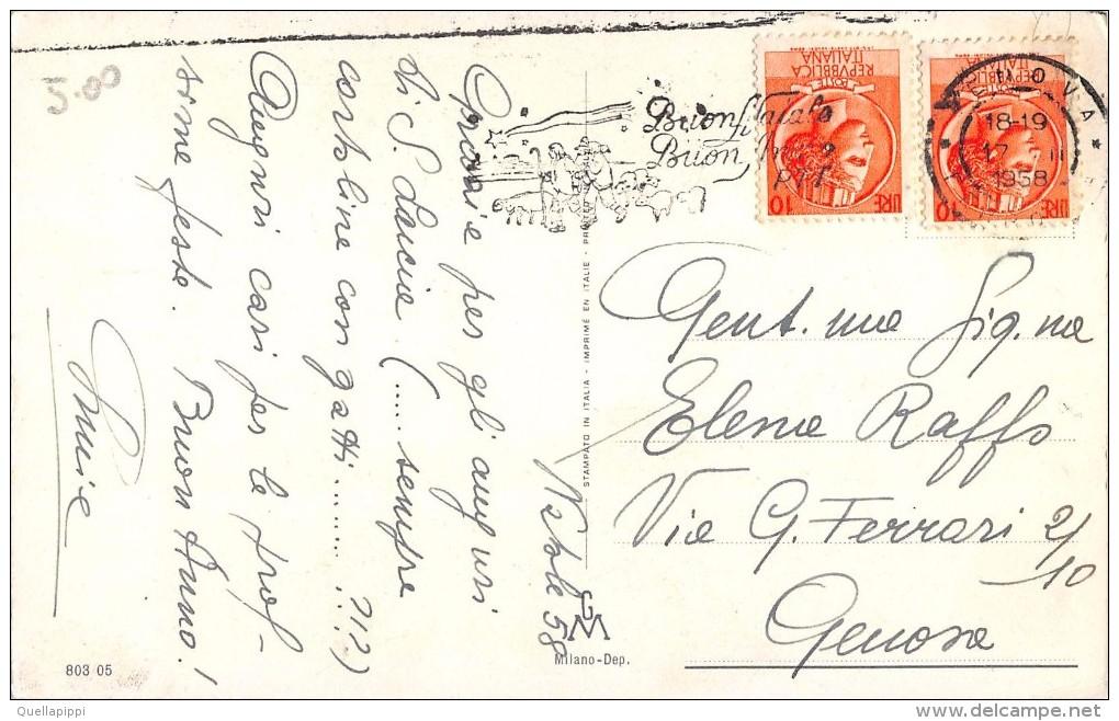 "03321 ""BUON NATALE"" BAMBINI, NEVE, CAMINO, CALZE, CANDELE, OROLOGIO A CUCU'. CART.  SPED. 1958 - Non Classificati"