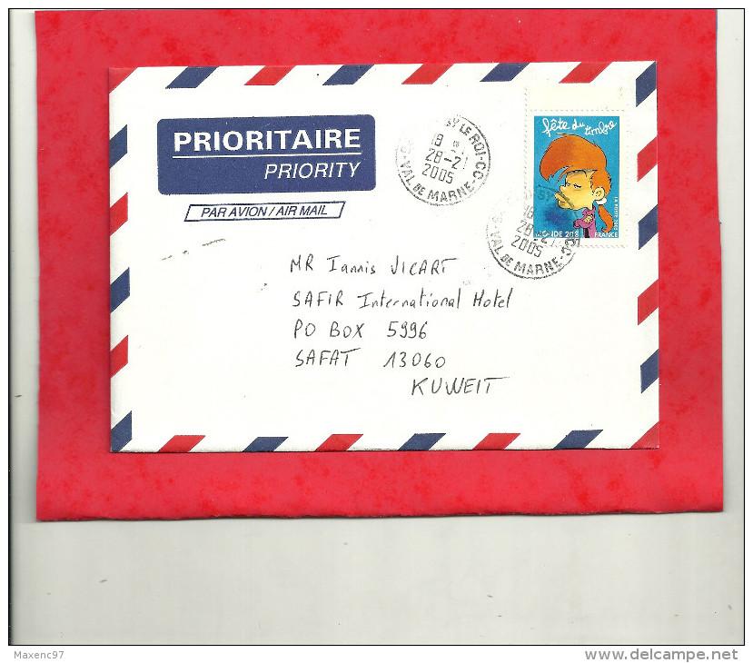 LETTRE AVEC TIMBRE NADIA YT 3753 POUR LE KOWEIT AVEC CACHET D'ARRIVEE - Poststempel (Briefe)