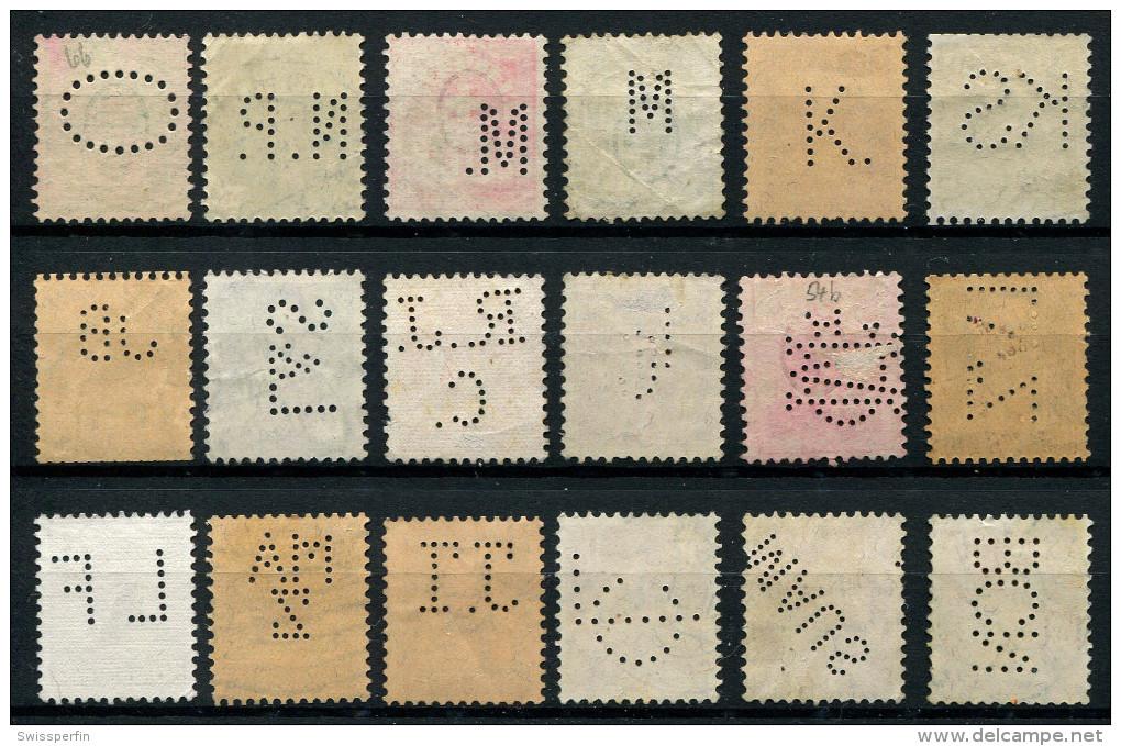 115 - 18 Diverse SCHWEIZ Perfins Inklusive Wertziffer - 1882-1906 Wappen, Stehende Helvetia & UPU