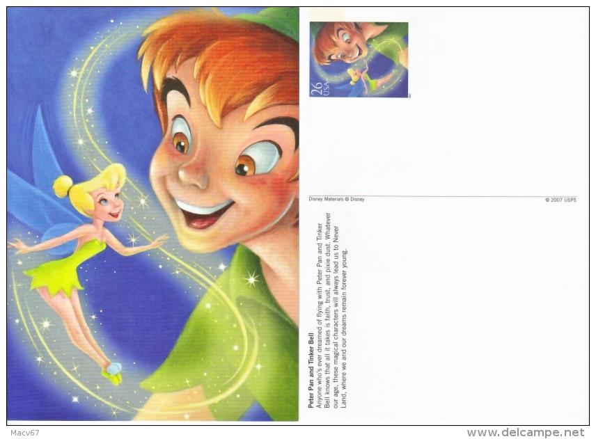 DISNEY POSTAL CARD    PETER  PAN  &  TINKER  BELL   ** - Postal Stationery