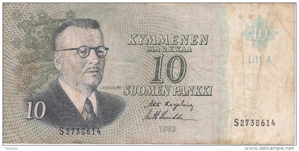 BILLETE DE FINLANDIA DE 10 MARKKAA DEL AÑO 1963  (BANKNOTE) - Finlandia