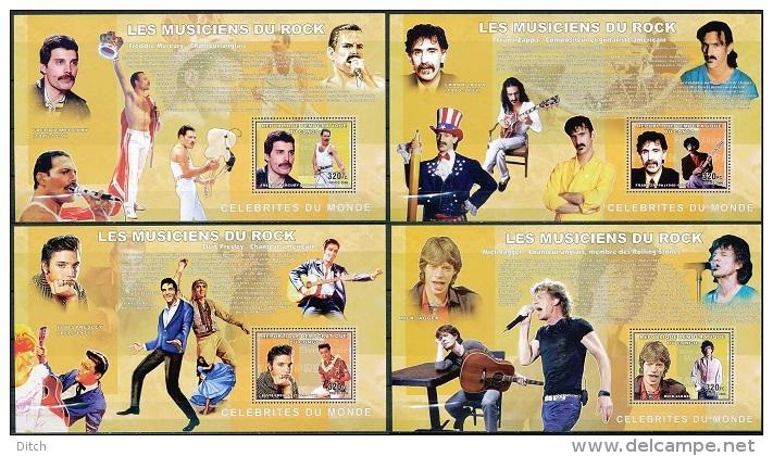 D- BL424/27, Célébrités Du Monde - Les Musiciens Du Rock - Freddie Mercury, Frank Zappa, Elvis Presley, Mick Jagger. - Democratic Republic Of Congo (1997 - ...)