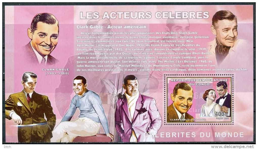 D- RD CONGO 2006 - Célébrités Du Monde - Les Acteurs Célèbres - Clark Gable. - Actors