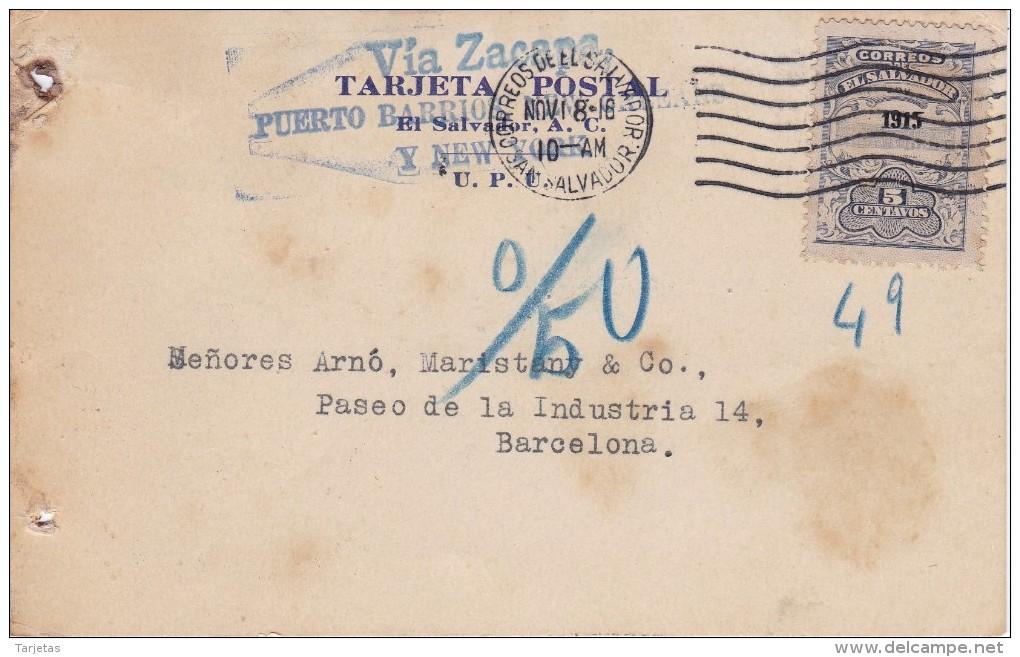 POSTAL DE EL SALVADOR DEL BANCO OCCIDENTAL DEL AÑO 1916 - El Salvador