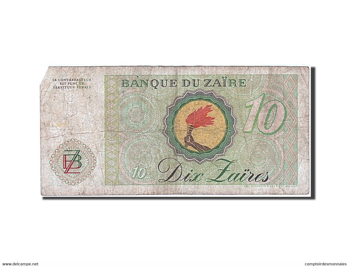 Zaïre, 10 Zaïres, 1982-1985, KM:27A, 1982-10-27, TB+ - Zaïre