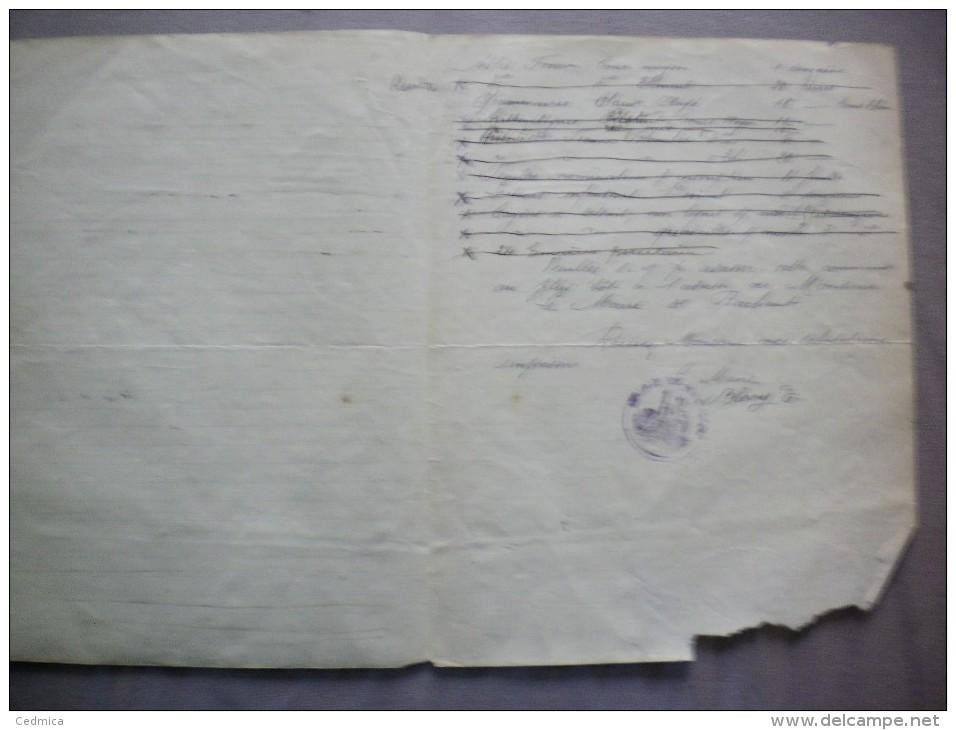 BACHANT SUR SAMBRE COMMUNE LE MAIRE BLARY E. COURRIER DU 18 7bre 1919 - Historische Dokumente