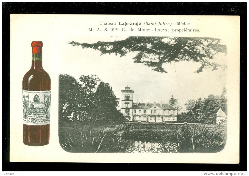 Reclame -  Publicité - Carte Publicitaire  :   Château Lagrange Médoc M.A. & Mlle C. De Muicy - Louys - Vin - Wijn - Publicité