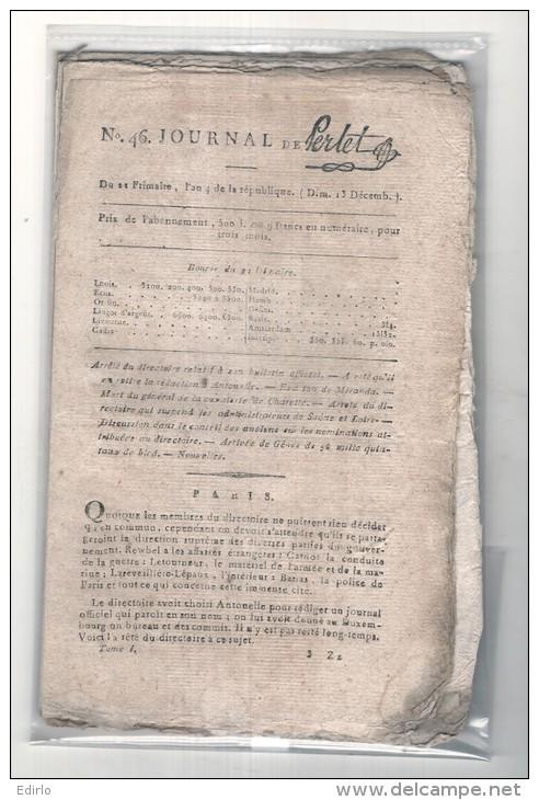 """1795 Authentique - Révolution Française """" Le Journal De Perlet """", N°: 46 Du 22 Frimaire De 1795  L´An 4. - Revues & Journaux"""