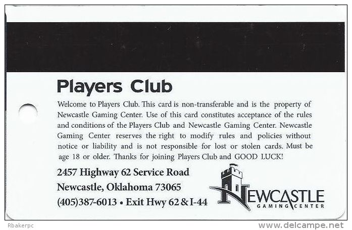 Newcastle Gaming Center Oklahoma Players Club Slot Card - Large Logo On Back (Printed) - Casino Cards