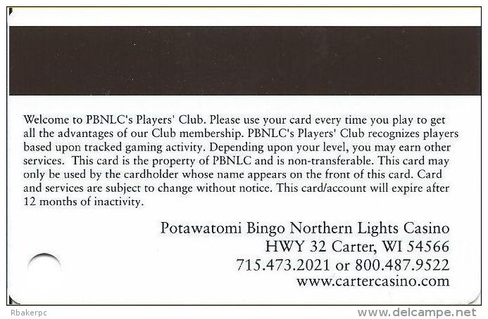 Northern Lights Casino Carter, WI Players Club Slot Card  (Blank) - Casino Cards