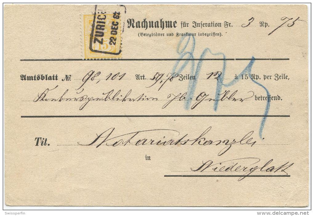 466 - 15 Rp. WERTZIFFER (weisses Papier) Auf NN-Karte - Lettres & Documents